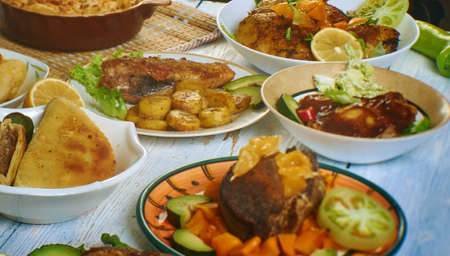 Caribbean cuisine, Traditional assorted dishes, Top view.