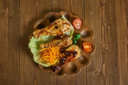 Moroccan Sticky Chicken, Gluten Free  Barbecue Chicken, close ip
