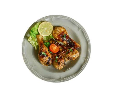 Honey Teriyaki Drumsticks  - Skillet or Instant Pot,  Combine soy sauce, rice wine, honey, garlic, ginger and sriracha in a skillet  Stock Photo