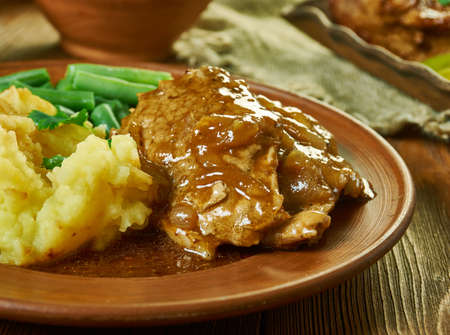 Cubed Steak in a mushroom and onion gravy, hearty home-style dinner your family