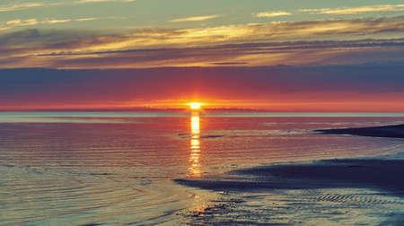 Sunset White Sea,Summer Coast, vicinity Nyonoksa,  Russia .Sandy shore of the south coast Stock fotó