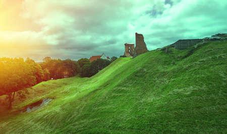 Ruins of Castle, ruins of the castle in the city of Novogrudok. Belarus. 6 July 2017 Stock fotó