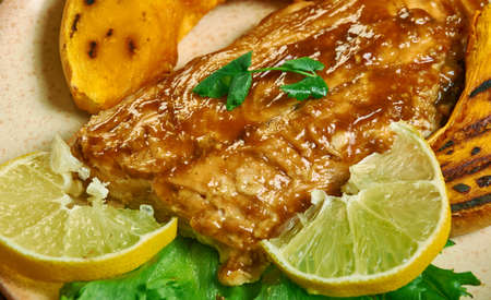 Whisky Salmon, salmon fillets are grilled hot and fast with a sweet whiskey marinade  Reklamní fotografie