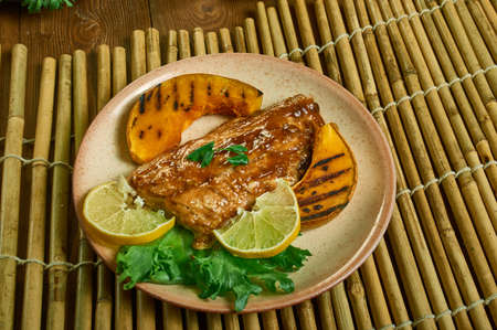 Whisky Salmon, salmon fillets are grilled hot and fast with a sweet whiskey marinade Stock fotó