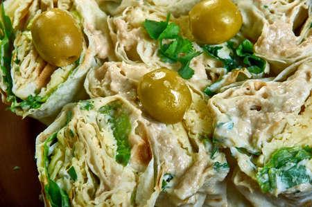 Cod liver pita bread cheese sandwich, Lavash Roll  close up