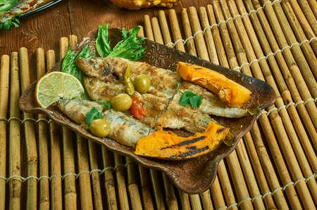 Kale Salad with Roasted Sardines and Roasted pumpkin Stock fotó