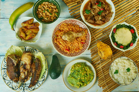 Kenyan cuisine, Traditional assorted African dishes, Top view. Stock Photo