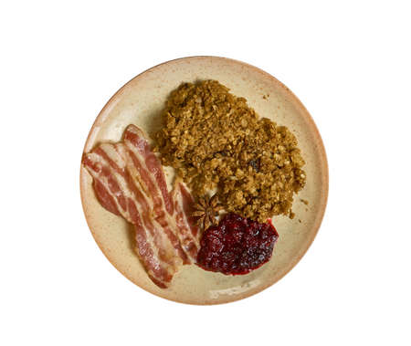 Navgrot, Oatmeal with bacon and lingonberry sauce , swedish food