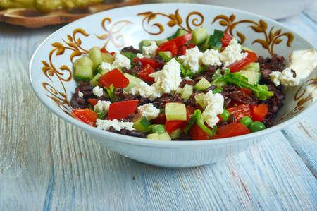 Black Rice Tabbouleh with Feta, vegetarian tabouli bowl. Stock fotó