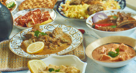 Kashmiri cuisine, Traditional assorted Indian  dishes, Top view. Stock Photo