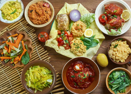 Ethiopian cuisine, Traditional assorted African dishes, Top view.