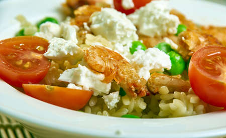Greek Orzo and Grilled Shrimp, alad with Mustard-Dill Vinaigrette