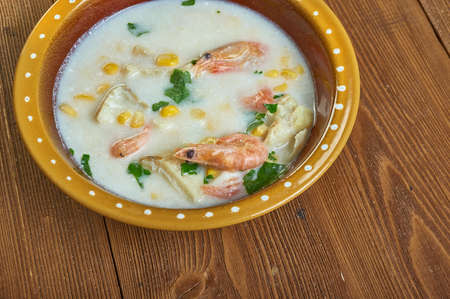 Corn and Shrimp creamy Chowder with Mashed Potatoes close up
