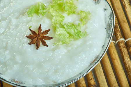 Congee type of rice porridge or gruel. food of the Tamil people of Ancient India Stock Photo