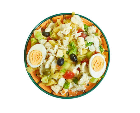 Portuguese salad with cod, potatoes - Bacalao or Bacalhoada