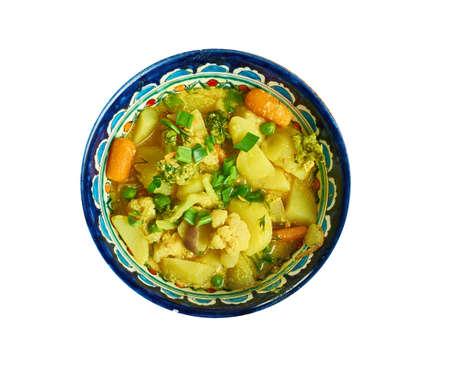 Creamy Coconut veggie korma, mixed vegetable curry Stock Photo