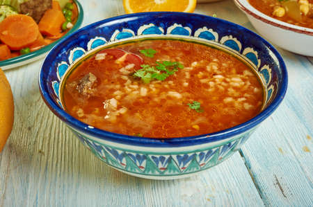 Chorba Frik - traditional soup, Algerian cuisine, Traditional assorted Mediterranean dishes, Top view. Archivio Fotografico