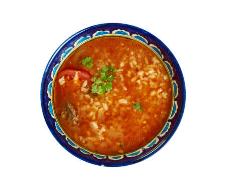 Chorba Frik - traditional soup, Algerian cuisine, Traditional assorted Mediterranean dishes, Top view. Stock Photo