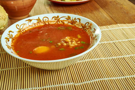Italian Zuppa di farro, farro soup typical dish from the Garfagnana region of Tuscany