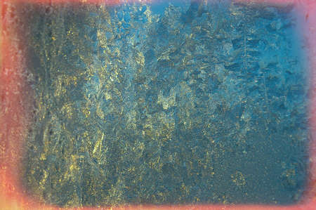 winter icy patterns - Picture of frost on the glass at sunset 版權商用圖片