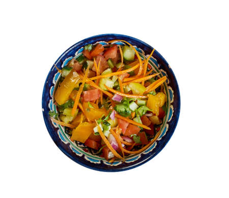 Afghan salad, salad in Afghan cuisine that is prepared with the primary ingredients of diced tomato, cucumber, onion, carrot, cilantro,