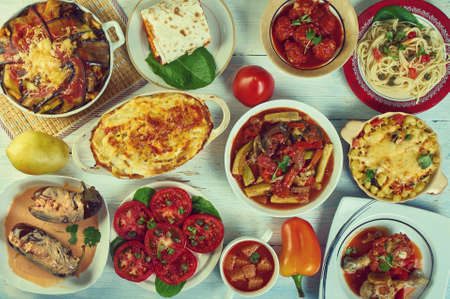 Sicilian cuisine, Traditional assorted Italy dishes, Top view.