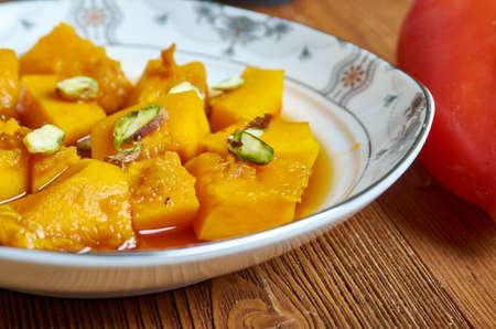 Kabak tatlısı - pumpkin dessert in Turkish cuisine, candied pumpkin