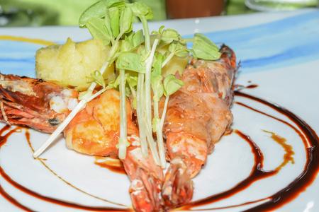 tiger shrimp: A grilled tiger shrimp prawns on plate Stock Photo