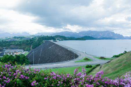 thani: Road on Ratchaprapha dam. Surat Thani,selective focus with blur background Stock Photo