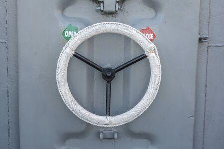depositing: Circle safty Door handles on the battleship Stock Photo