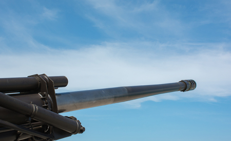 Soft focused picture of Artillery Force machines or Army equipment big gun with nice blue sky Stock Photo