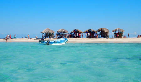 dominica: huts on a small island Stock Photo