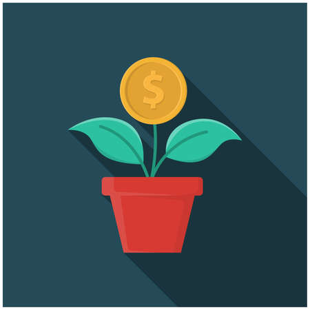 money plant, coin tree, Money tree. Green cash banknotes with golden coins. Tree in a ceramic pot. Vector illustration