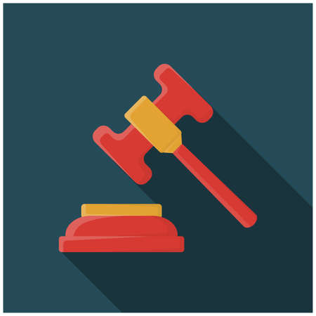 Law Icon in trendy flat style isolated, Judge Gavel symbol for your web site design, logo, app, UI. Vector illustration, Lawyer Or Law Firm Design
