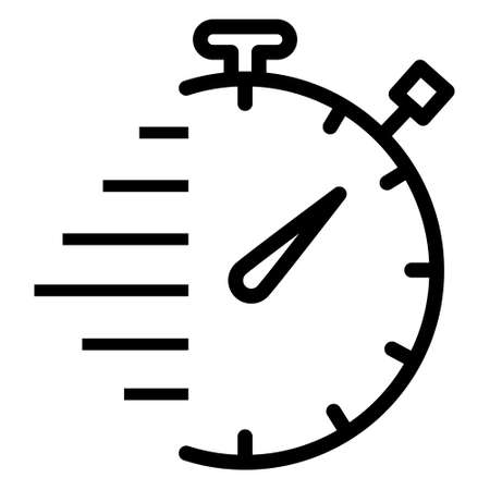 Speed Timer Line Icon. Timer icon, Stopwatch icon. Timer icon vector illustration, Fast delivery icon with timer. Fast stopwatch line icon. Fast delivery icon. Speed clock symbol urgency, deadline