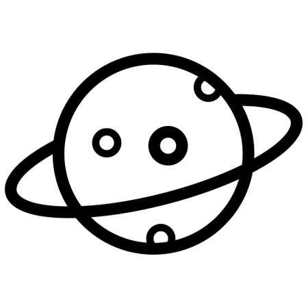 saturn planet icon, Planet Saturn with planetary ring system flat icon. Vector illustration on white background