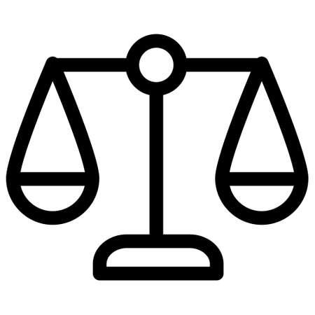 Balance of justice icon, Scales justice icon, Justice scales line icon. Judgement scale sign. Legal law symbol.