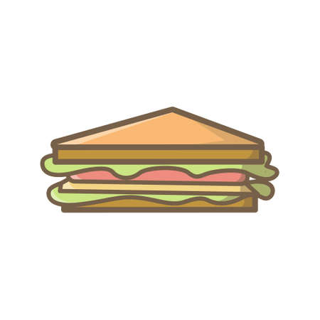 Sandwich Icon/ Illustration of an appetizing cartoon fast food sandwich icon. Color fast food club sandwich icon illustration