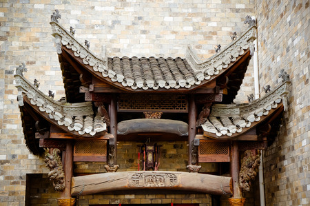 gatehouse: Chinese ancient buildings outside the gatehouse Stock Photo