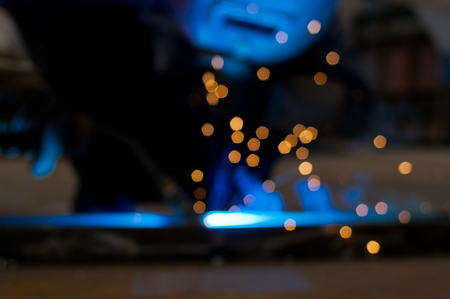 Welders working when intense light emitted by the virtualized become beautiful aperture Stock Photo