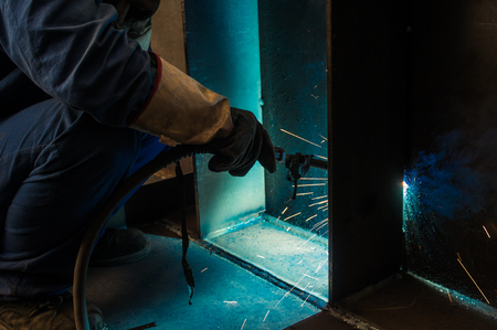 dazzling: Welding work issued strong dazzling rays of light