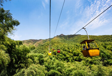 Scenic cable car and mountain scenery photo