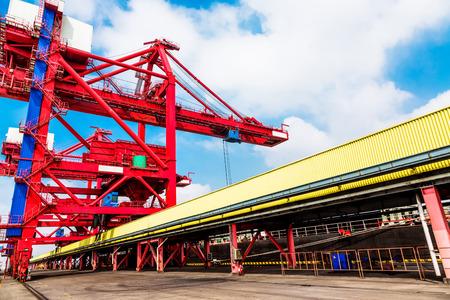 yangtze: Jiangyin Yangtze River cargo terminal scenery Stock Photo
