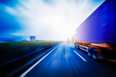 truck on highway: Container Trucking Stock Photo