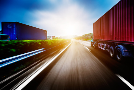 trucking: Container Trucking Stock Photo