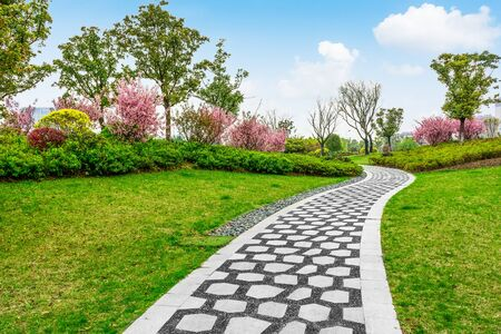 Curved stone path in the park
