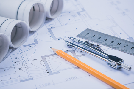 autocad: The development of technology project Stock Photo