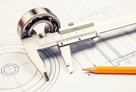 Technische tekening en de remklauw met lager Stockfoto - 45021850