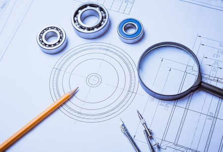 technical: technical drawing and caliper with bearing