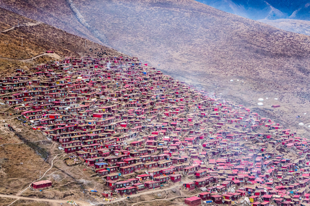 gar: Larung Gar(Larung Five Sciences Buddhist Academy). A famous Lamasery in Seda, Sichuan, China.